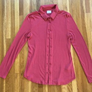 Anthropologie ribbed button up blouse salmon pink